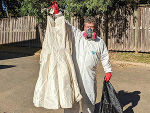 A wedding dress that was stored in Mary Jean Murphy's Public Storage unit in Scotch Plains was salvageable.