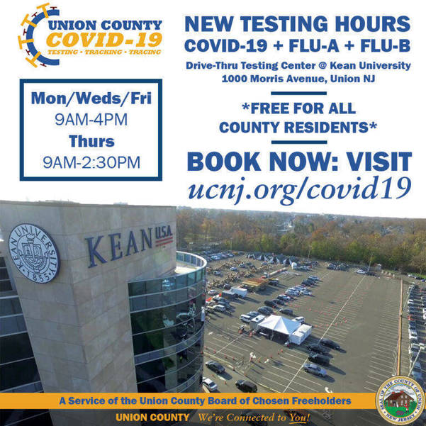 New Hours for Free Drive-Thru COVID-19 Tests at Kean University Campus
