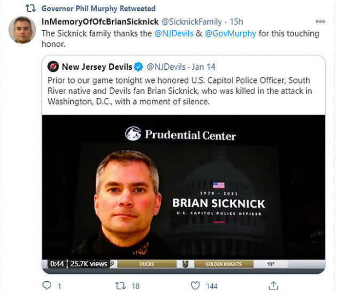 The NJ Devils paid tribute to U.S. Capitol Police Officer Brian Sicknick, a South River native
