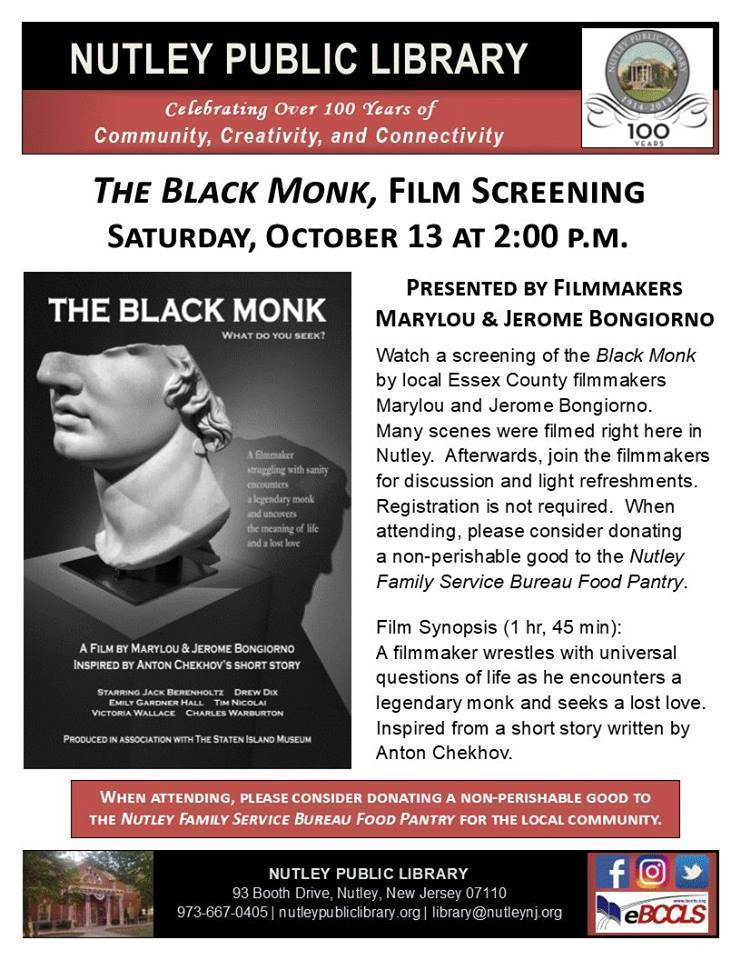 The Black Monk, Screening & Discussion with Filmmakers at the Nutley Public Library
