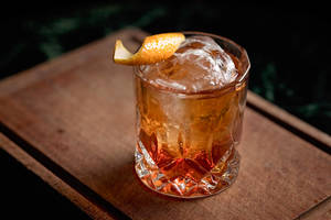 Old fashioned, classic cocktail served on the rocks