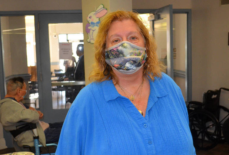 Patricia Goeb of Scotch Plains Senior Housing was pleased to get the one-shot J&J vaccine.