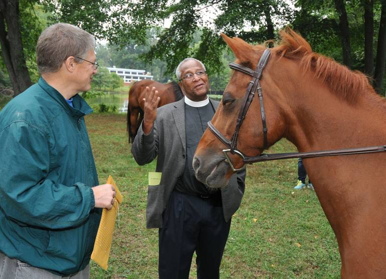 Plainfield - AIC - Celebration of th Animals - Father Lyons Blessing a horse 62.jpg