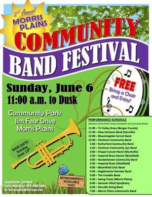 Community Invited to 2nd Annual Community Band Festival in Morris Plains