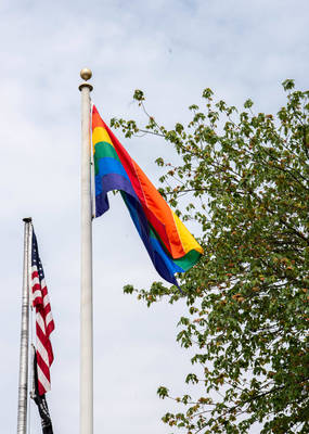 The Pride Flag Flies at Wayne Town Hall For the First Time