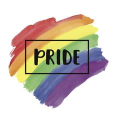 Pride lettering on a watercolor rainbow flag