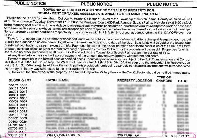Scotch Plains Public Notice - Snuffy's.png