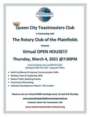 Open House March 4th Queen City Toastmasters & Rotary Club of the Plainfields