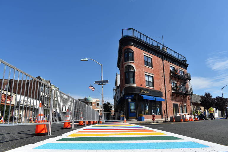 The freshly painted Quimby Street rainbow crosswalk in 2020.