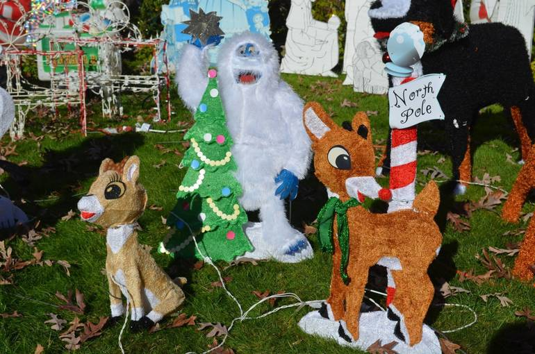 Rudolph the Red Nose Reindeer display at Fanwood's Famous Christmas House.