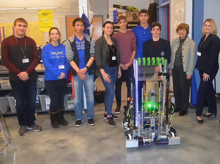 Robotics team with Freeholder Kowalski, and UCVTS Interim Superintendent Ryan.png