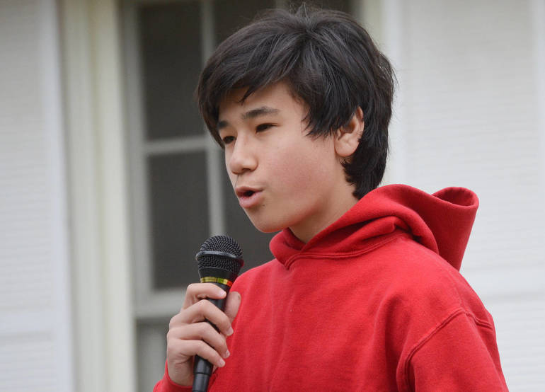 Sam Altman, a Westfield High School student, spoke at the Stop Asian Hate Rally in Scotch Plains on April 17, 2021.