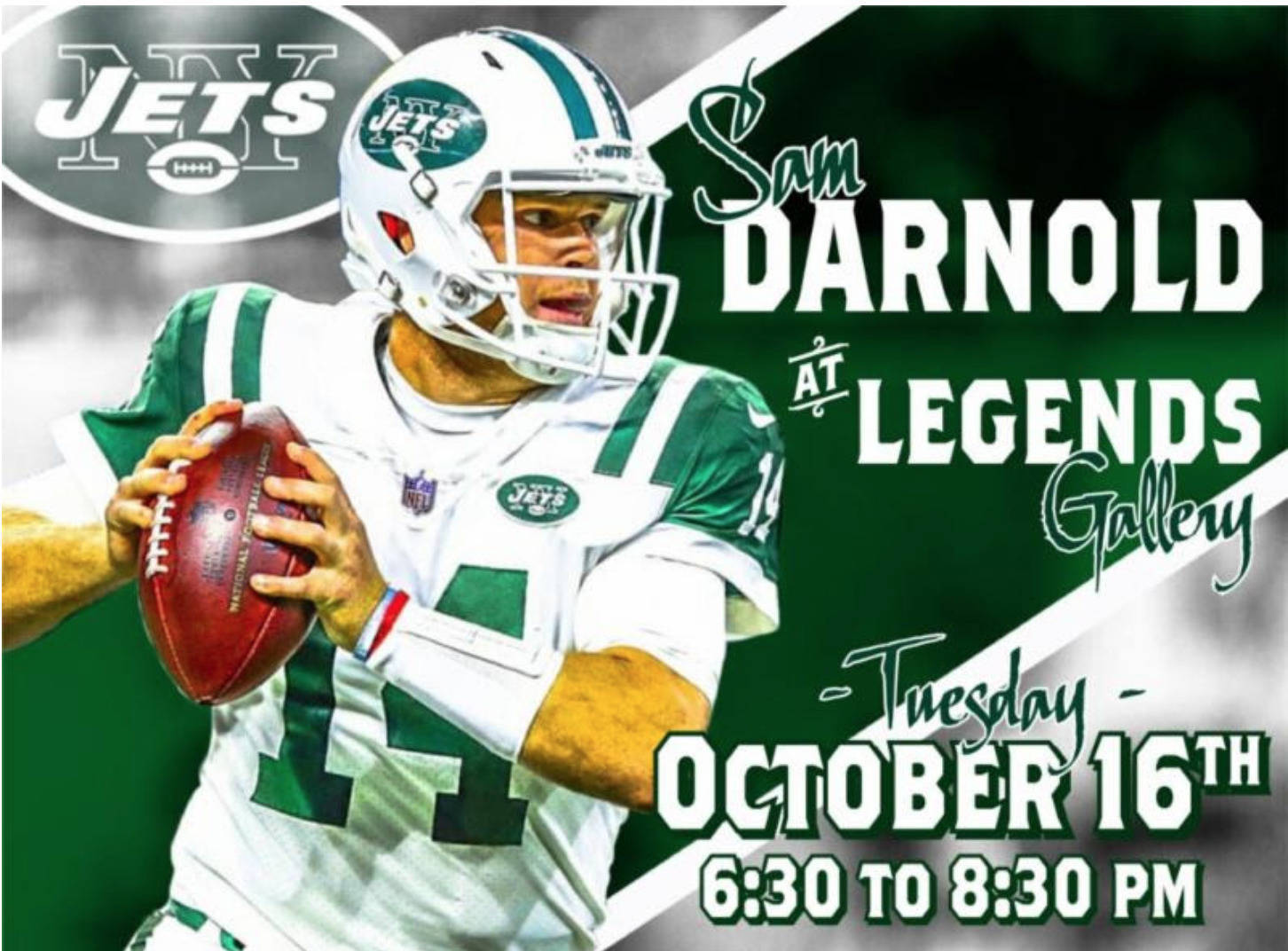Jets Rookie Quarterback Sam Darnold to Appear in Chatham at Legends Gallery on Oct. 16