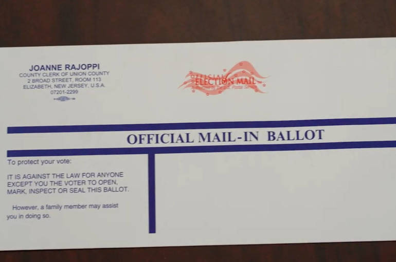 Mail in ballot envelope union county