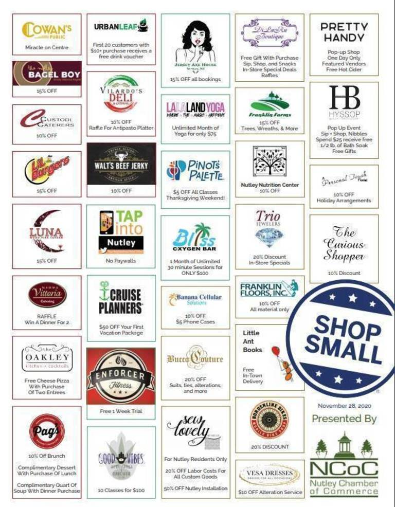 Nutley Chamber of Commerce and Pretty Handy Present Small Business Saturday Today in Nutley