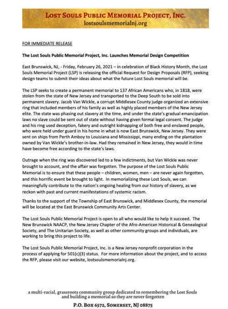 RFP Press Release--Lost Souls Public Memorial Project