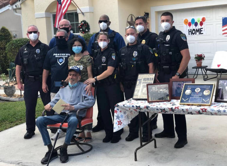 Ailing NYPD Retiree Gets Hero's Welcome in Coral Springs FL
