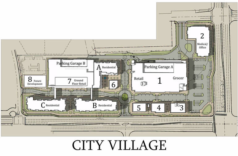 Updated plans for the City Village project planned in downtown Coral Spring at the northwest corner of University Drive and Sample Road.