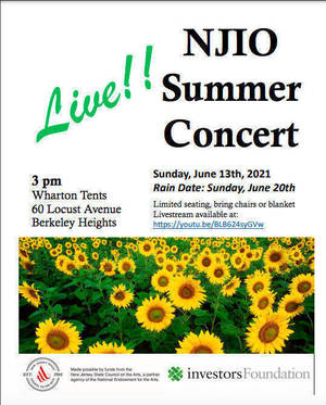 Watch NJIO's Free Live Streamed Concert this Sunday, June 13th at 3 pm