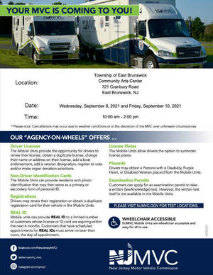 New Jersey Mobile MVC  in East Brunswick Next Week