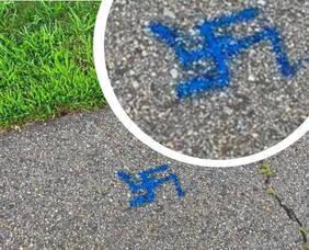 Swastika Painted on Sidewalk in Wayne