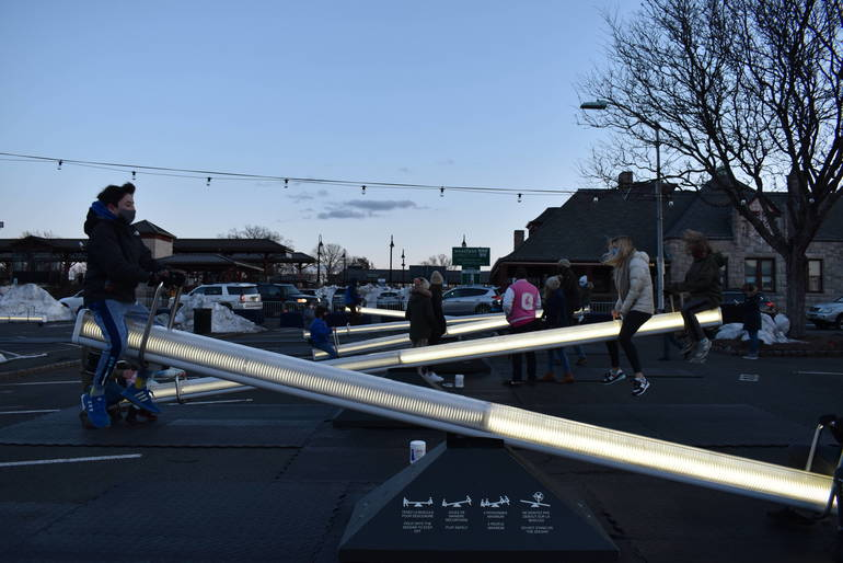 With 'Impulse' Art, Bob Zuckerman Brings Lighted Seesaws to Downtown Westfield