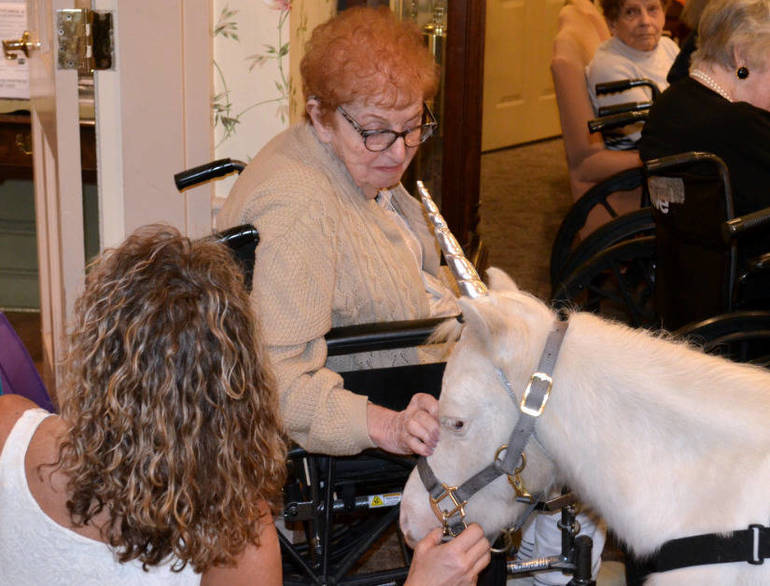 Noble the Unicorn interacts with seniors at The Chelsea at Fanwood on Friday.