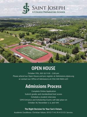 Saint Joseph High School (Metuchen) to Host Open House Sun,  Oct. 17