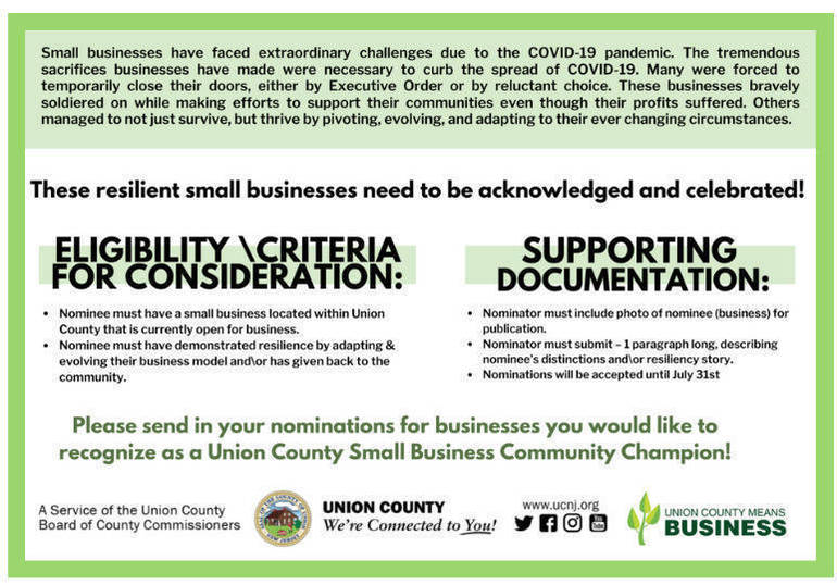 Union County to Honor Small Business Champions. Nominations Sought