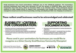 Nominations Sought for Union County Small Business Community Champion Program
