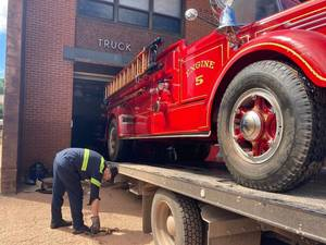 Somerville's Iconic 1942 Mack Firetruck Survives Ida's Floodwaters