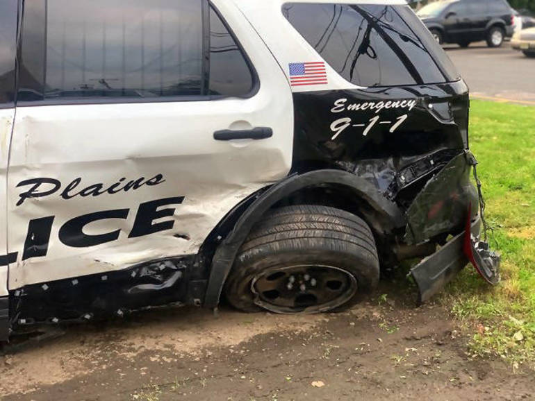 Scotch Plains police car damaged in an accident
