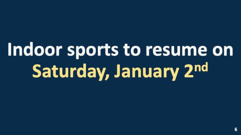 Gov. Phil Murphy says youth winter sports can commence on Jan. 2, 2021.