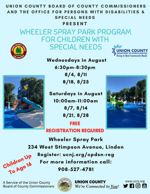 Union County's Wheeler Spray Park Program for Children with Special Needs Continues Through August