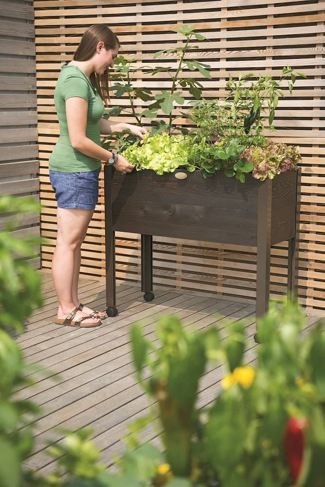 The Self-Watering Standing Garden's large reservoirs maximizes the time between watering.