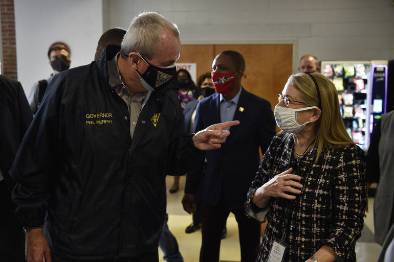 Murphy visited individuals receiving their vaccines at Kean University on Friday.