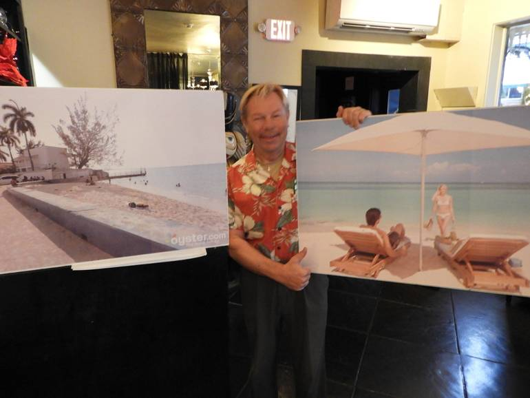 Ted Friedli, owner of Excel Travel with two pictures of the same beachfront resort - Use a Travel Agent!.jpg
