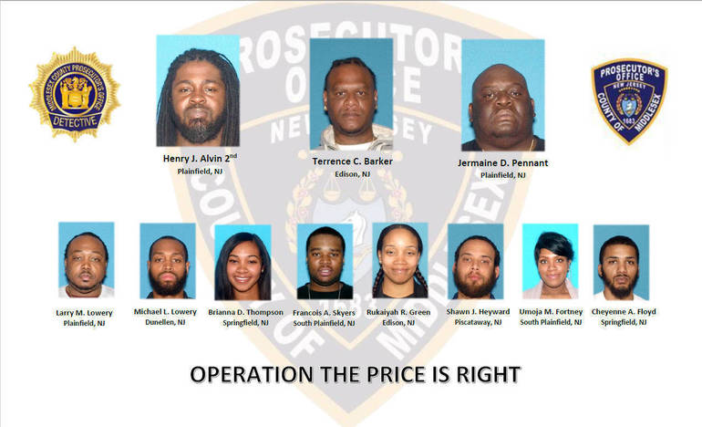 11 People in Middlesex, Union Counties Charged in Narcotics Distribution Ring