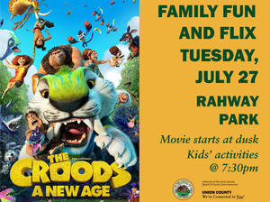 """""""The Croods: A New Age"""" is next at Union County's Family Fun and Flix Outdoor Movie Series Event on July 27"""