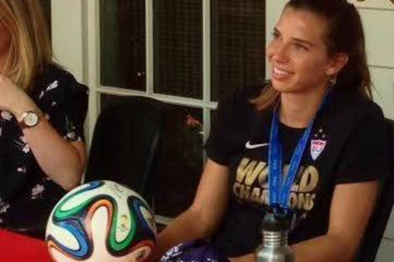 Tobin Heath visits downtown Basking Ridge in 2015