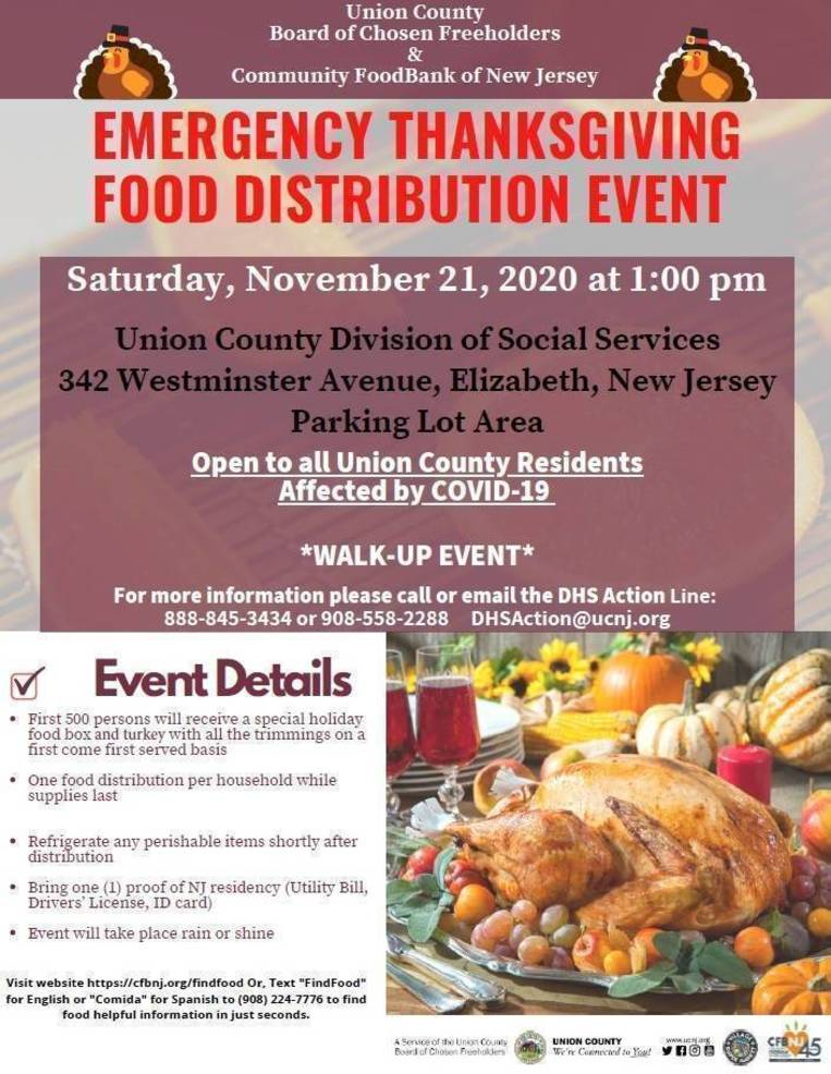 County Announces COVID-19 Emergency Thanksgiving Walk-Up Food Distribution in Elizabeth, November 21