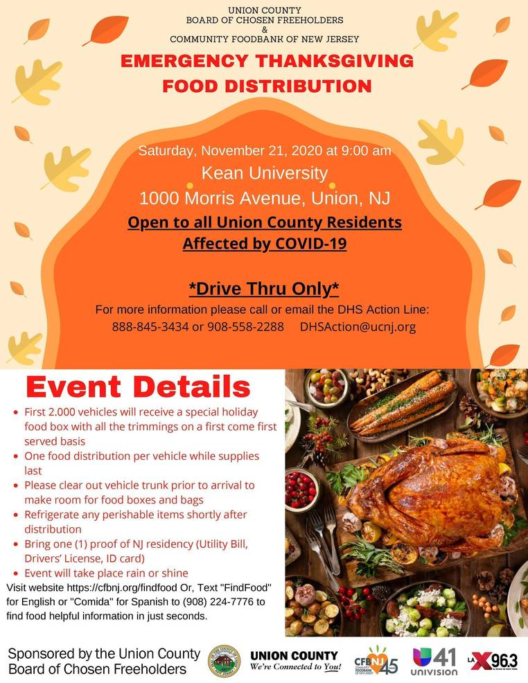 Union County Announces COVID-19 Emergency Drive-Up Food Distribution in Union Township, Nov. 21