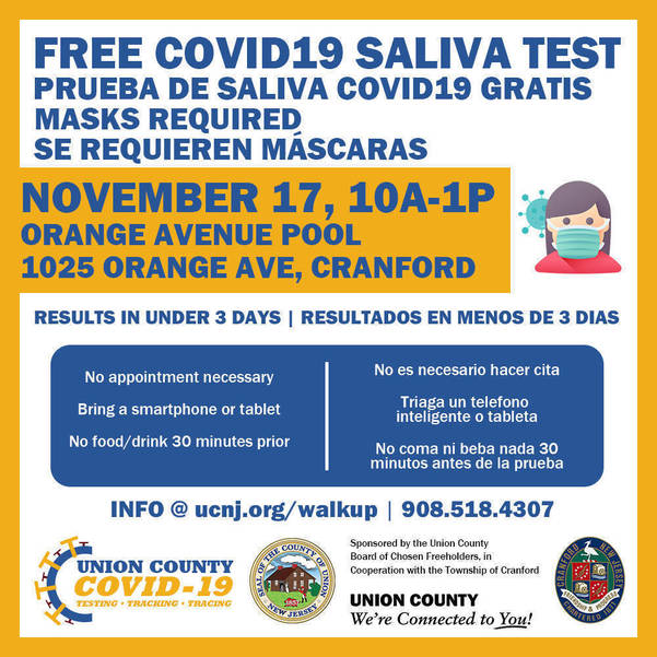Free Walk-Up COVID-19 Tests Offered By Union County In November