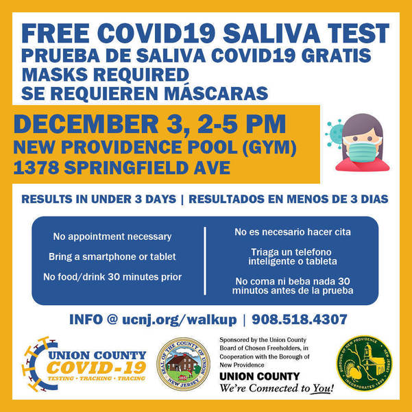 Union County Residents Can Get Free Walk-Up COVID-19 Tests