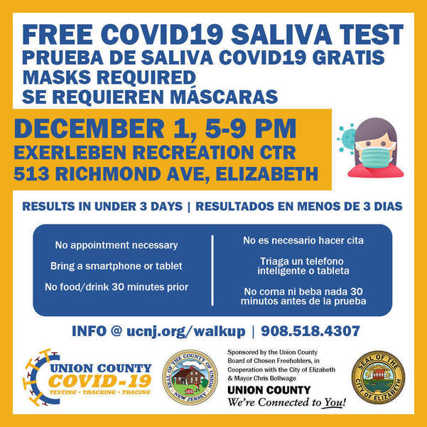 Union County Residents Can Get Free Walk-Up COVID-19 Tests in Elizabeth, December 1