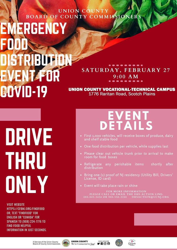 COVID-19 Emergency Food Distribution on Feb. 27 in Scotch Plains