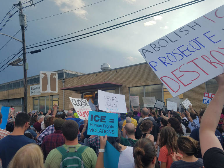 Over 300 Rally at ICE Detention Center in Solidarity of the