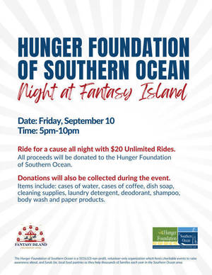 Hunger Foundation of Southern Ocean Night at Fantasy Island This Friday, September10