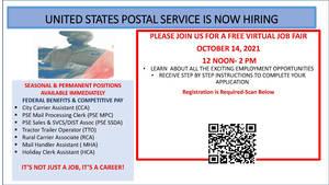 United States Postal Service is Hiring; Free Virtual Job Fair Taking Place Thursday Oct. 14