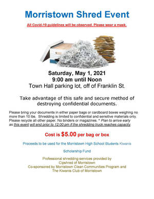 Don't Forget! Morristown Shred Event Set for Saturday May 1